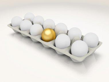 Golden egg in a carton