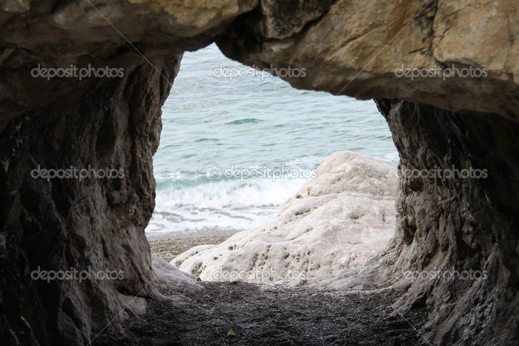 Sea from cave