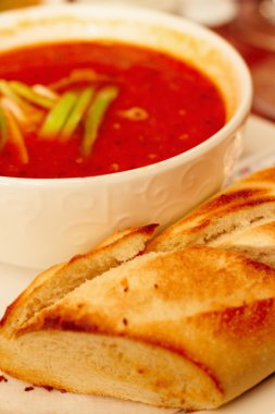 Hearty red spicy italian tomato soup