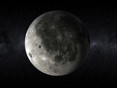 3d moon in the space