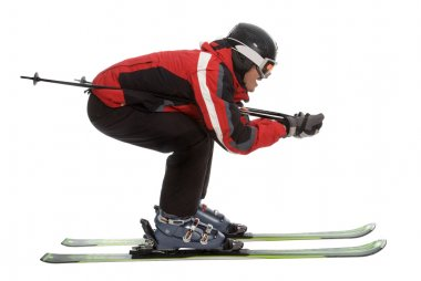 Skier man in aerodynamic pose