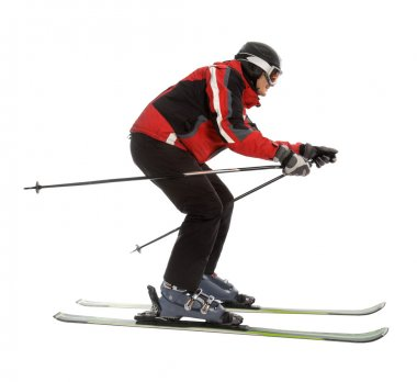 Skier man in ski slalom pose