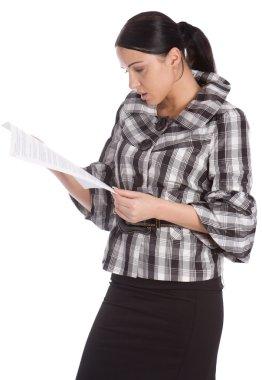 Serious women read document