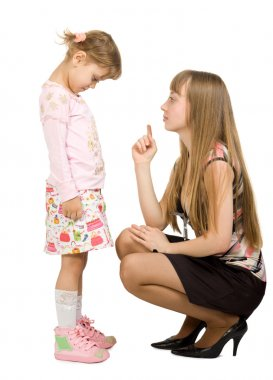 Adult girl swearing little girl