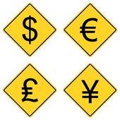 měnové symboly na dopravní značení