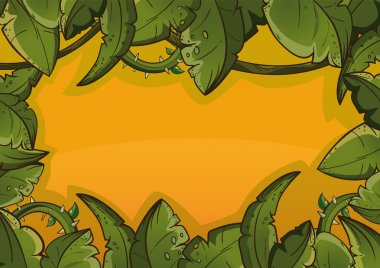 Banner of tropical leaves orange