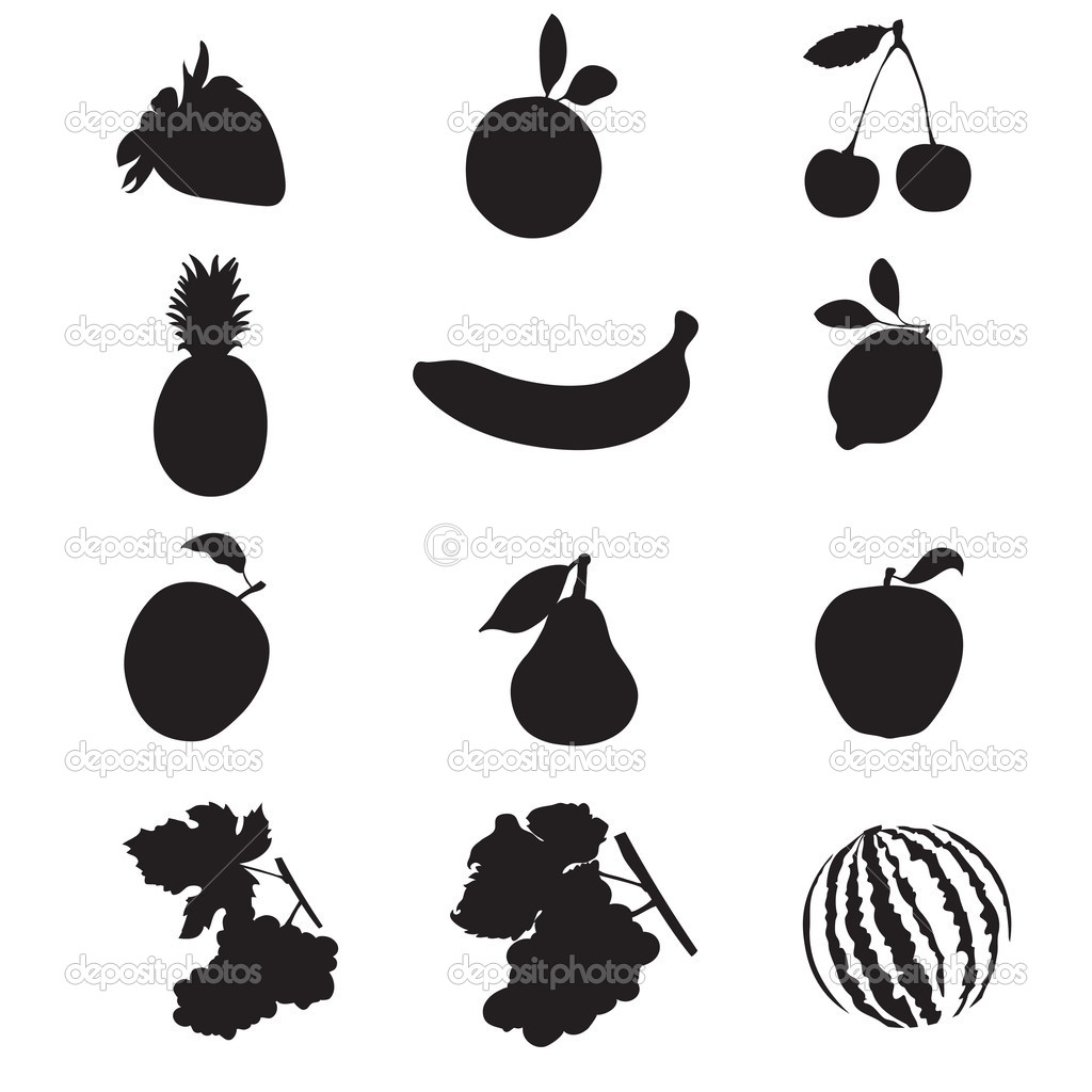 Silhouettes of fruit.