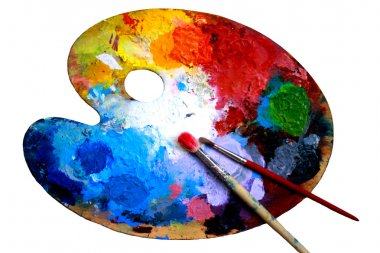 Oval art palette with paints and two brushes on a white back-ground stock vector