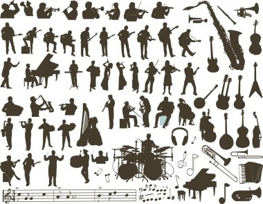 Vector silhouettes of musicians, music instruments and symbols clip art vector