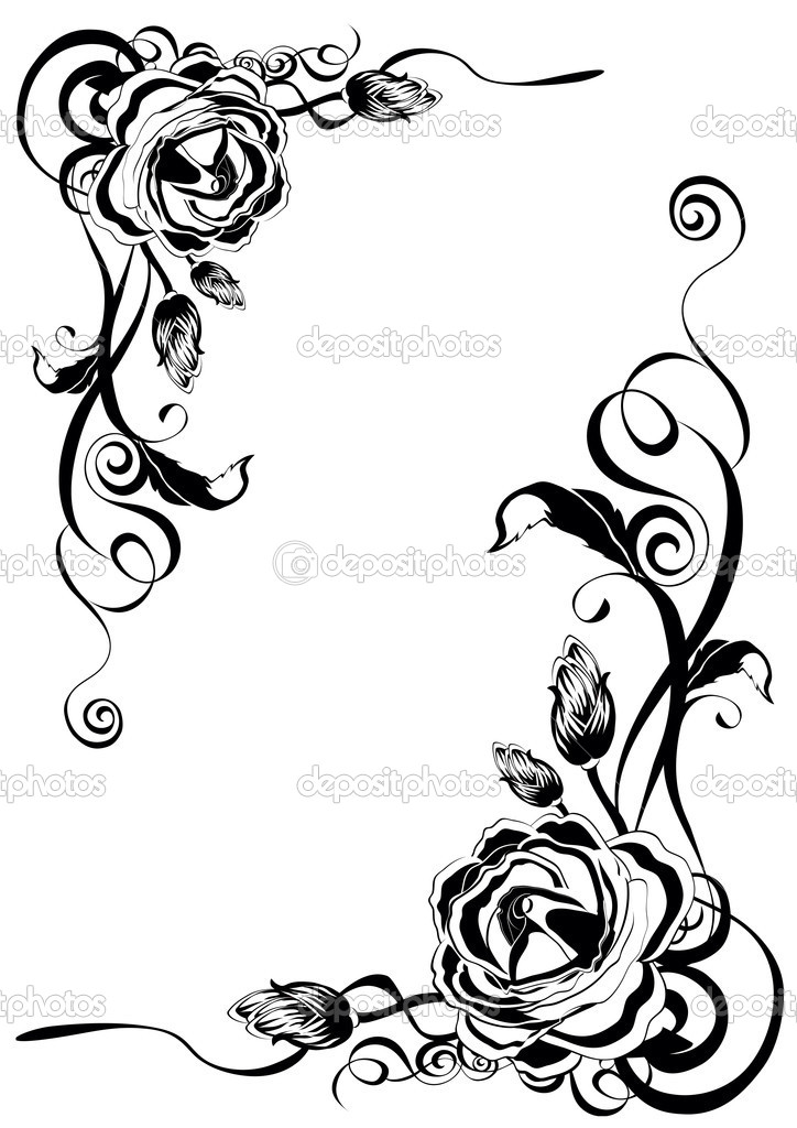 Ornament from roses in black color clipart vector