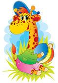 žirafa s míčem