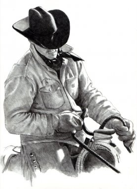 Pencil Drawing of Cowboy in Saddle