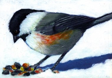 Painting of a Chickadee in Winter