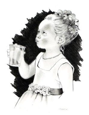 Pencil Drawing: Little Flower Girl
