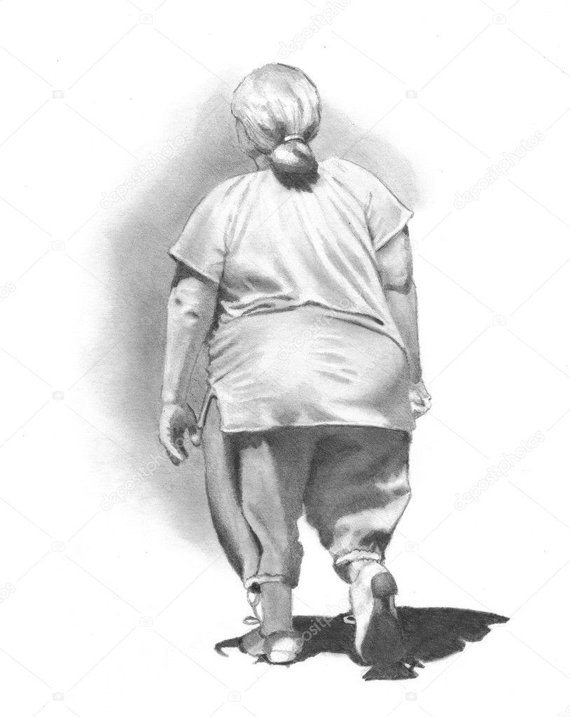 Depositphotos Stock Photo Pencil Drawing Of Woman Walking Drawings