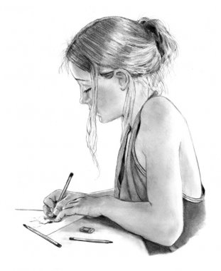 Pencil Drawing of Girl Writing, Drawing