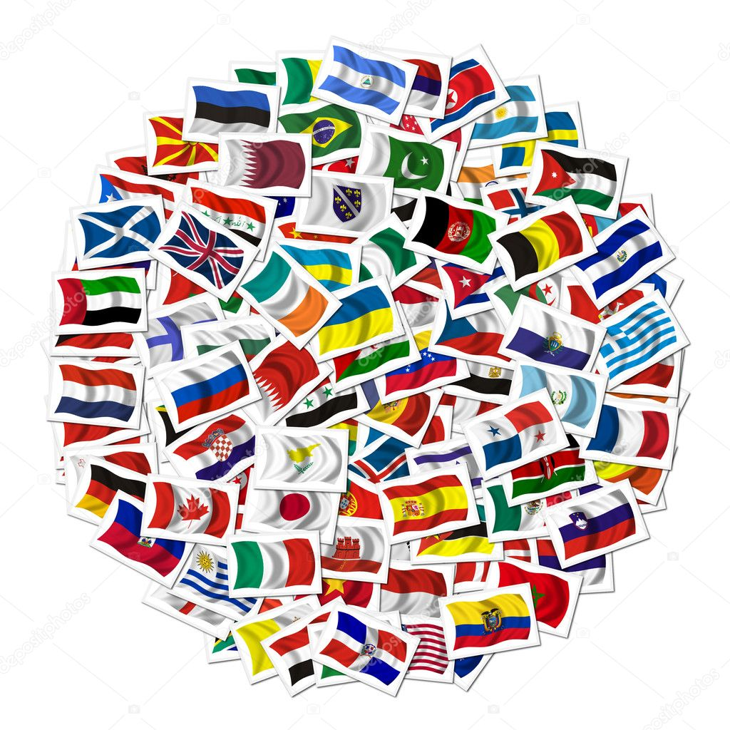 Collection of Flags on white background