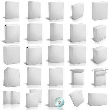 3d render boxes on white background