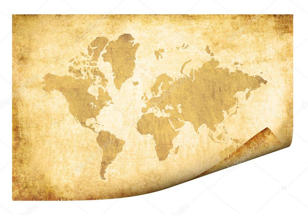 Carte Du Monde Parchemin parchemin avec carte du monde — photographie pakmor © #1492321
