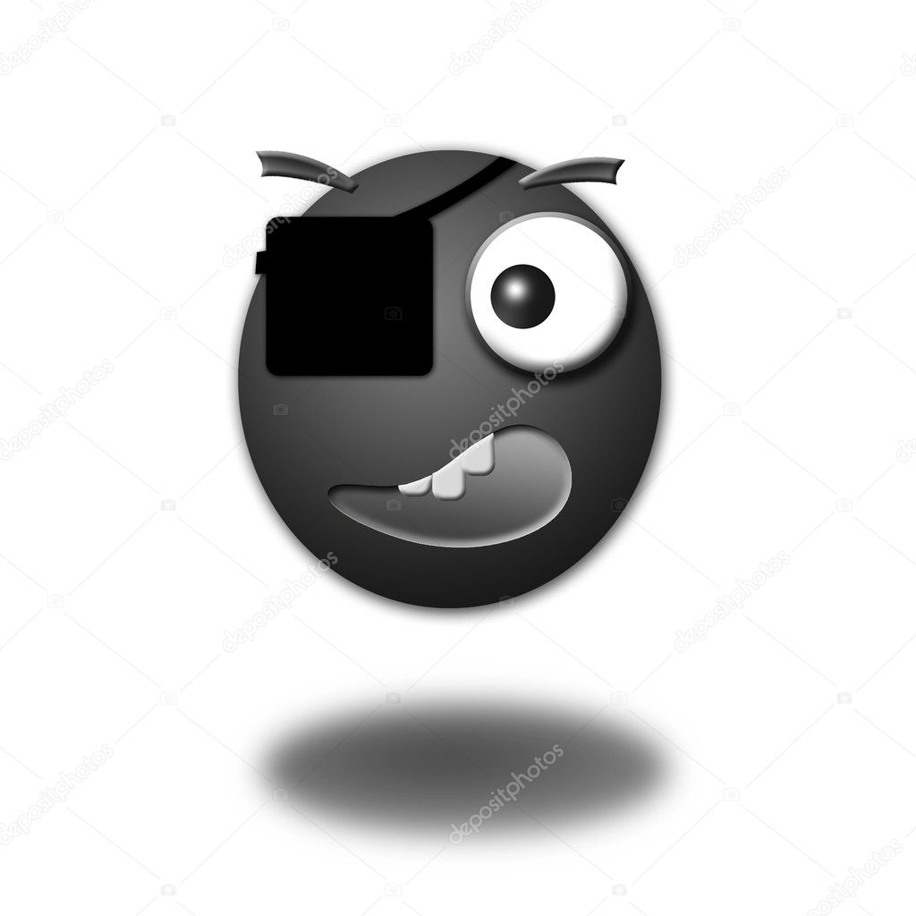 Illustration of a 3d smiley on a white b
