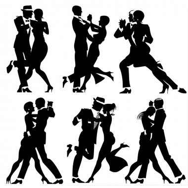 Illustration with Couples dancing