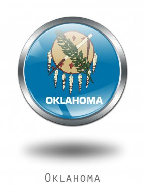 3D Oklahoma Flag button illustration on