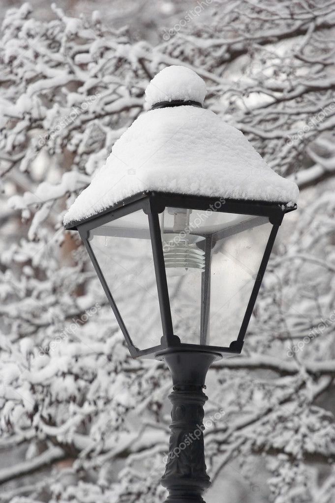 Park lantern in a snow