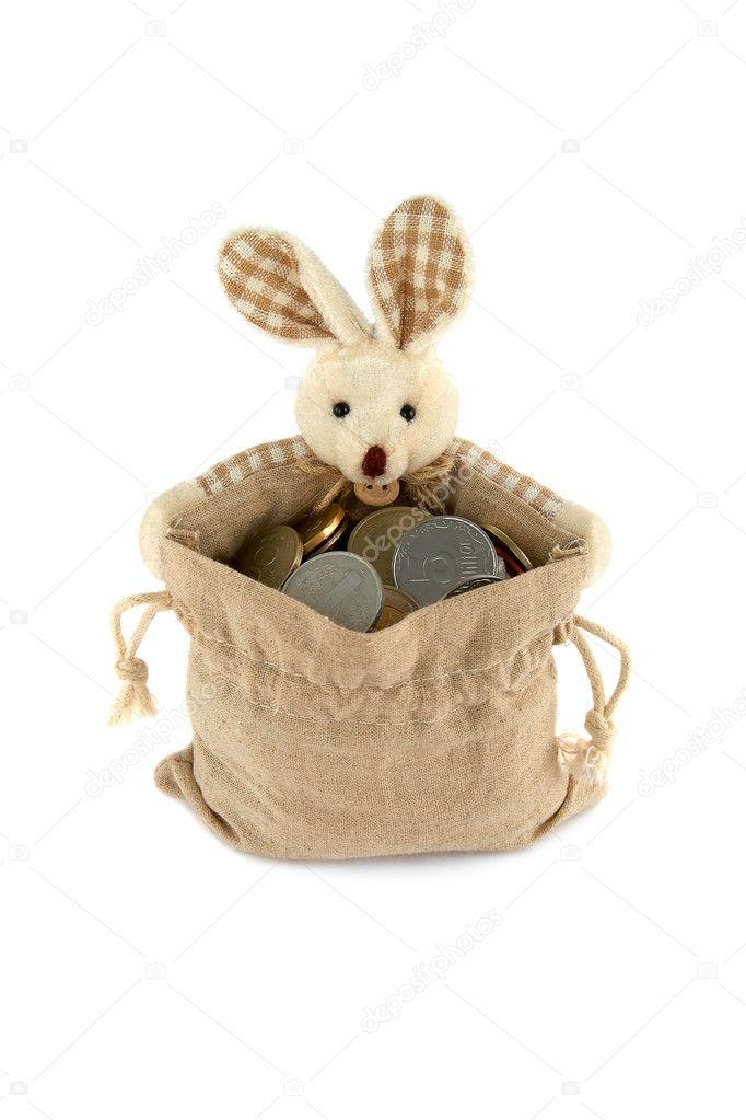 deada2e262 Πάσχα λαγουδάκι με μια πλήρη τσάντα των κερμάτων — Φωτογραφία Αρχείου