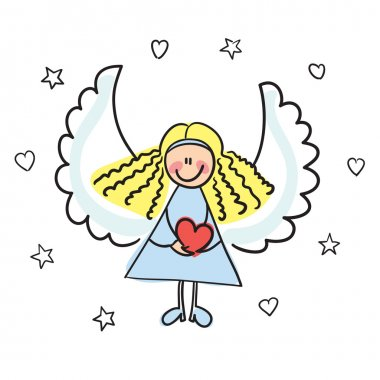 Angel with heart vector illustration