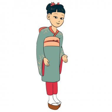 Japanese girl dressed traditional suit k