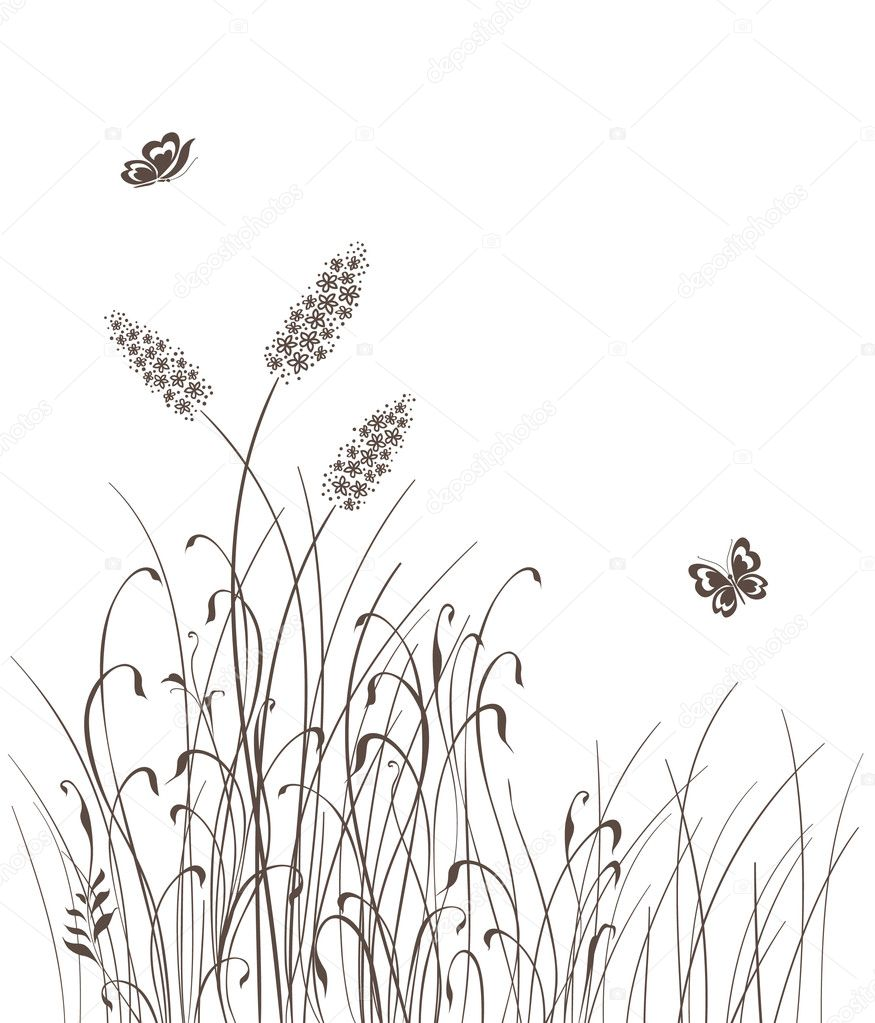 Vector grass silhouettes background