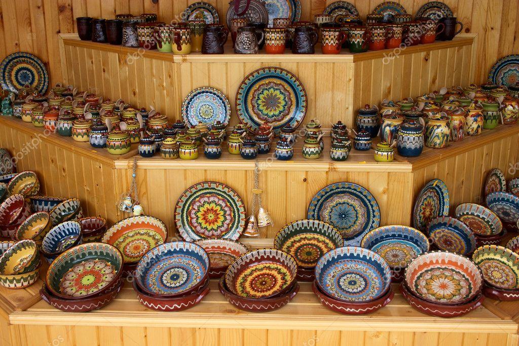 Pratos e lou as artesanais cer mica fotografias de stock for Materiales para ceramica artesanal