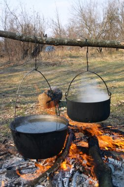 Pots above the fire