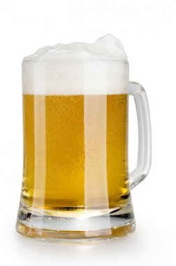 Alcohol light beer mug with froth