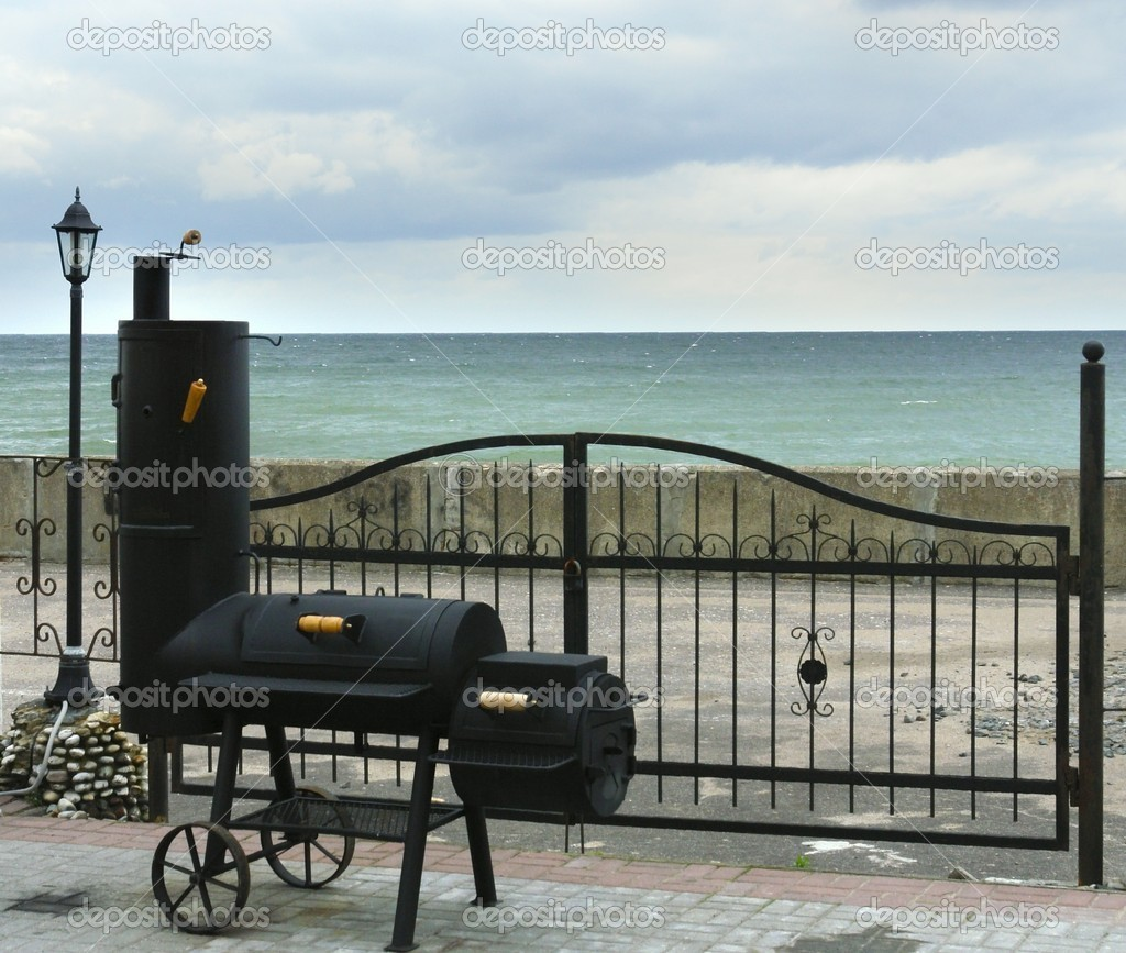 Smoking shed on sea coast