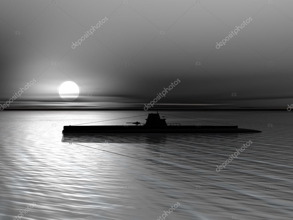 Submarine on the sea