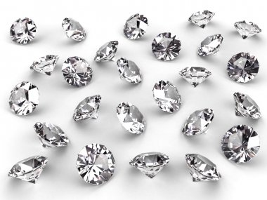 Several diamonds with soft shadows