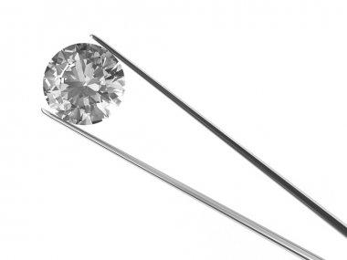 A diamond held in tweezers