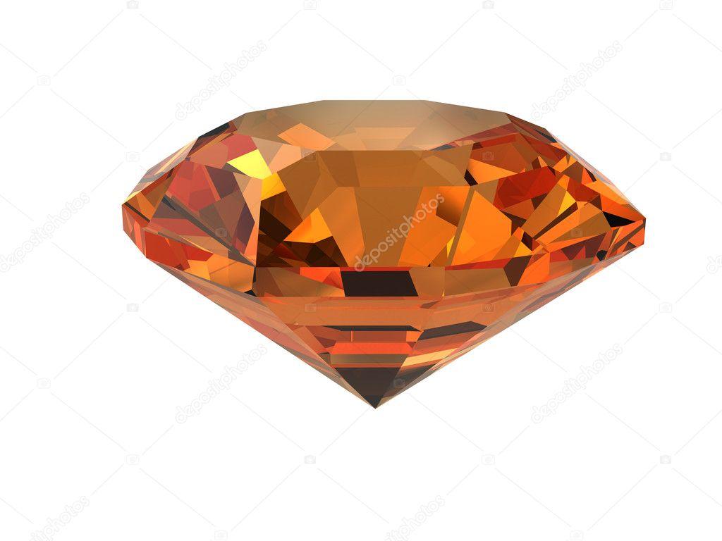 Dark-orange gemstone isolated on white. High resolution 3D image.
