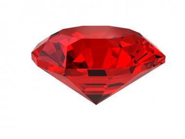 Dark-red gemstone isolated on white