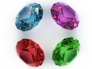 Multi-coloured gemstones