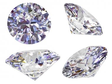 Four view of diamond isolated on white