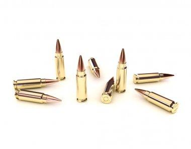 Several full metal jacket bullets on white background stock vector