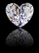Fotografie Herzförmiger Diamant auf Schwarz