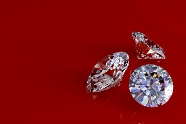 Three diamonds on red glossy background