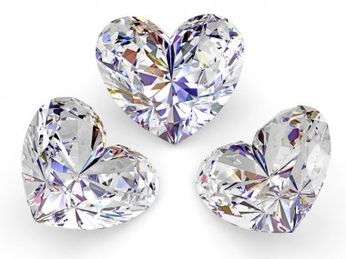 Three diamonds in the shape of heart
