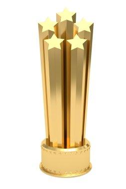 Golden stars prize on pedestal