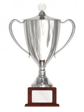 Silver trophy cup on wood pedestal