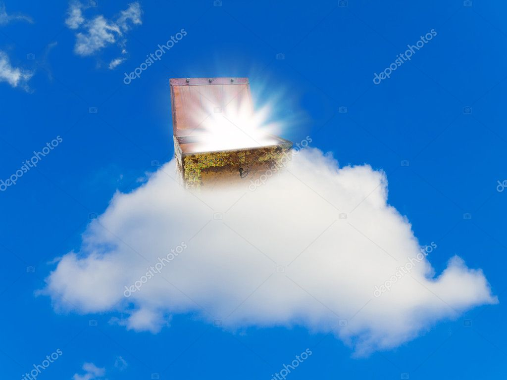 Chest with treasure at cloud