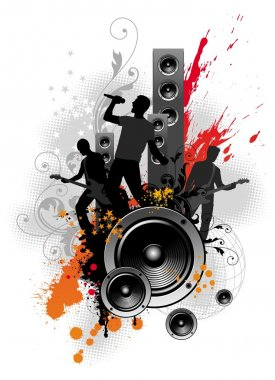 Illustration with rock band
